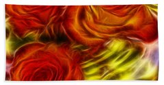 Hand Towel featuring the painting Red Roses In Water - Fractal  by Lilia D