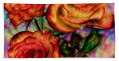 Hand Towel featuring the digital art Red Roses In Water - Silk Edition by Lilia D