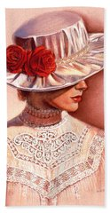 Red Roses Satin Hat Hand Towel