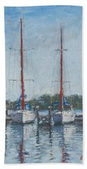 Red Sails Under Gray Sky Hand Towel