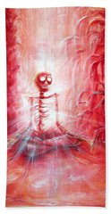 Red Skeleton Meditation Hand Towel