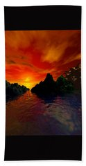 Bath Towel featuring the digital art Red Sky by Kim Prowse