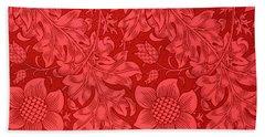 Red Sunflower Wallpaper Design, 1879 Bath Towel