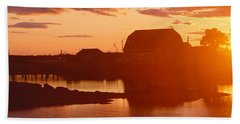 Red Sunset At Lobster Village Hand Towel