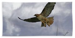 Red Tail Hawk Digital Freehand Painting 1 Bath Towel