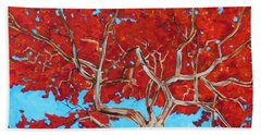 Hand Towel featuring the painting Red Tree Wip by Dan Whittemore