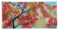 Red Trees Hand Towel