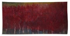 Red Trees Watercolor Hand Towel by Dick Bourgault