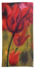 Bath Towel featuring the painting Red Tulips by Donna Tuten