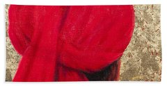 Red Turban On Gold Leaf, 2014 Oil On Canvas With Gold Leaf Hand Towel