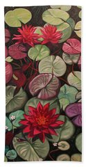 Red Water Lilies Hand Towel
