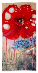 Bath Towel featuring the painting Red Weed Red Poppy by Daniel Janda