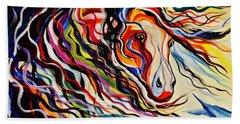 Red Wind Wild Horse Bath Towel by Janice Rae Pariza
