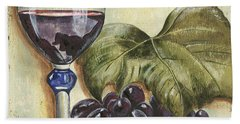 Red Wine And Grape Leaf Hand Towel