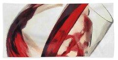 Bath Towel featuring the painting Red Wine  Into Wineglass Splash by Georgi Dimitrov