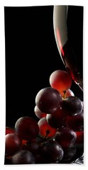 Red Wine With Grapes Hand Towel