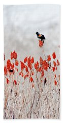 Red Winged Blackbird On Sumac Bath Towel