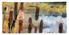 Hand Towel featuring the painting Reedmace by Dragica  Micki Fortuna