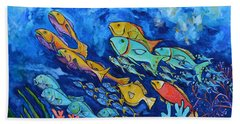 Hand Towel featuring the painting Reef Fish by Patti Schermerhorn