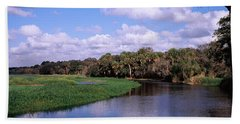 Reflection Of Clouds In A River, Myakka Hand Towel