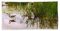 Reflection Of Cranes On Water, Boynton Bath Towel