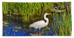 Reflection Of White Crane In Pond Bath Towel