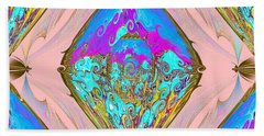 Reflection. Gold Blue And Magenta Colors. Art Bath Towel by Oksana Semenchenko