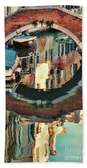 Reflection-venice Italy Bath Towel by Tom Prendergast