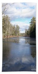 Bath Towel featuring the photograph Reflections Caught On Ice At A Pretty Lake In New Hampshire by Eunice Miller