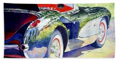 Hand Towel featuring the painting Reflections On A Corvette by Roger Rockefeller