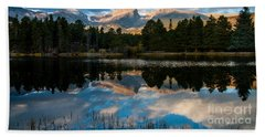 Hand Towel featuring the photograph Reflections On A Lake 3 by Anne Rodkin