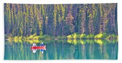 Reflective Fishing On Emerald Lake In Yoho National Park-british Columbia-canada  Hand Towel