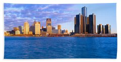 Renaissance Center, Detroit, Sunrise Hand Towel