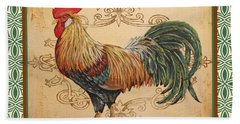 Renaissance Rooster-a-green Bath Towel by Jean Plout