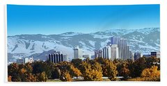 Reno Skyline From Rancho San Rafael Bath Towel