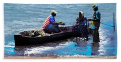 Hand Towel featuring the painting Repairing The Net At Lake Victoria by Anthony Mwangi
