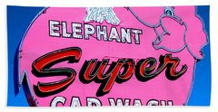 Elephant Super Car Wash Sign Seattle Washington Hand Towel