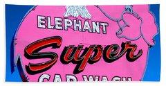 Elephant Super Car Wash Sign Seattle Washington Bath Towel