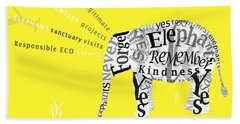 Responsible Tourism Elephant Typography Poster Hand Towel