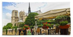 Restaurant On Seine Hand Towel by Elena Elisseeva