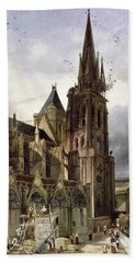 Restoring The Abbey Church Of St. Denis In 1833 Oil On Canvas Bath Towel