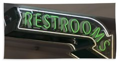 Restrooms In Neon Hand Towel