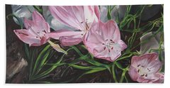 Hand Towel featuring the painting Resurrection Lilies by Jane Autry