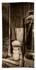 Retro Barber Tools In Black And White Bath Towel