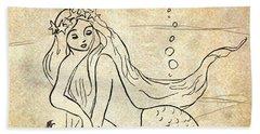 Bath Towel featuring the drawing Retro Mermaid by Rosalie Scanlon