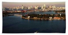 Retro Style Miami Skyline Sunrise And Biscayne Bay Bath Towel