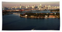 Retro Style Miami Skyline Sunrise And Biscayne Bay Bath Towel