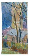 Reverend Hawkers Church At Morwenstow IIi Oil On Canvas Hand Towel
