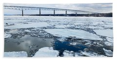 Bath Towel featuring the photograph Rhinecliff Bridge Over The Icy Hudson River by Kristen Fox