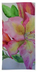 Hand Towel featuring the painting Rhodie With Dew I by Lynn Quinn